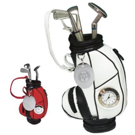 Bolsa de golf con reloj y plumas